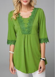 Crinkle Chest Long Sleeve Button Front Blouse | liligal.com - USD $34.90
