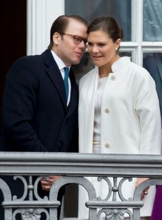 Crown Princess Victoria of Sweden and Prince Daniel, Duke of Vastergotland on the balcony at Amalienborg Palace during festivities for the 75th birthday of Queen Margrethe II Of Denmark on April 16, 2015 in Copenhagen, Denmark.