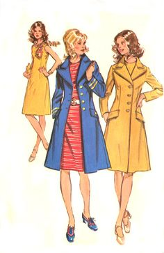 70s A Line Dress and Coat Pattern  Simplicity by treazureddesignz, $12.95