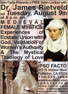 "Thanks everyone who turned out to our Lilith lecture at Ipso Facto last night with Dr. James D. Rietveld! We had standing room only!  Join us in two weeks for another female centric subject ""Medieval Female Mystics: Experiences Of  Ecstatic Union With God, Validation Of Women's Authority, & The Mystical  Theology Of Love"" on August 9, 8 p.m. Free. https://www.facebook.com/events/171950363217456/"