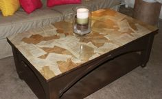 Modge Podge furniture with tea stained book pages!