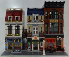Jewelry Store, Pizzeria, and Bricklyn Bike (sonicstarlight) Tags: lego butcher modular