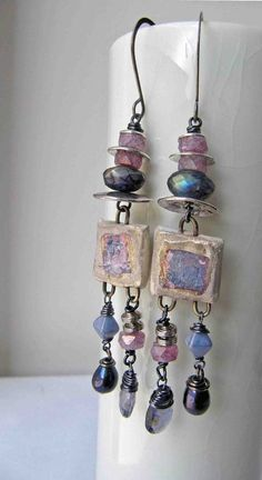 Silvered squares  handmade earrings bead earrings by somethingtodo