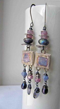 Silvered squares  handmade earrings bead earrings by somethingtodo