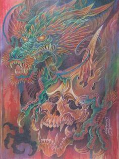 Skull Rose Tattoos, Leg Tattoos, New Dragon, Dragon Art, Tattoo Cafe, Dragon Head Tattoo, Thai Tattoo, Asian Tattoos, Japanese Dragon