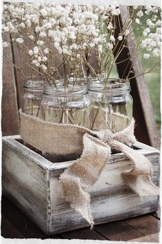Baby's Breath in clustered mason jars...#rusticwedding #rustic shower