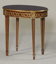 MS Rosewood and Corsair Mahogany Finished Occasional Table with Gold Gilded Accents