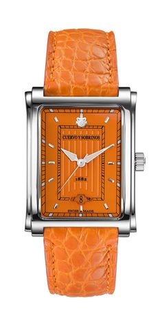 The Cuervo y Sobrinos 1015.1OR Swiss luxury watch for men is a burst of orange color. The Prominente Caramelo Orange automatic watch, with historic Cuervo y Sobrinos design from the 50's and vintage s