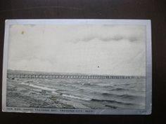 Vintage 1941 Postcard New Pier Grand Traverse Bay City MI Michigan Mich - a1