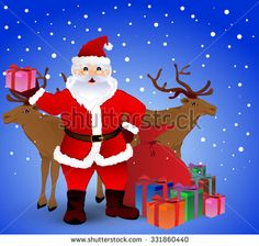 Santa Claus and reindeer full of gifts vector on blue background