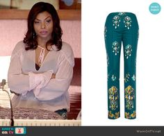 c572491b41c Cookie s teal embellished pants on Empire. Outfit Details  http   wornontv.