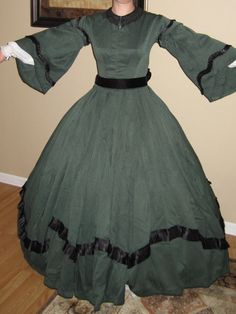 """This ensemble of Civil War era day dress, ball gown, cape, and hair ornament was hand made in the recent past by a skilled seamstress. It is very high quality, not """"costume-y"""" at all. From my personal"""