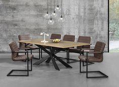 Tisch in edlem und zeitlosem Eiche-Design + Designstuhl im 6er-Set - 86,5 x 60cm - dunkelbraun