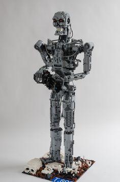https://flic.kr/p/tDayjz   Lego Terminator T-800   Terminator series T-800 exoskeleton standing on the future battlefield firing his laser mini Laser rail-gun at the human resistance!!