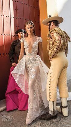 berta fall 2018 bridal cap sleeves deep plunging v neck full embellishment peplum elegant sexy sheath wedding dress open back chapel train (15) mv