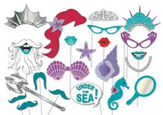 Mermaid party photo booth props - printable - Under the Sea party, The little mermaid