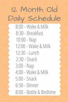 12 Month Old Schedule, Baby Schedule, Toddler Schedule, Toddler Meals, One Year Old Foods, 1 Year Old Meals, Baby Life Hacks, Baby Feeding Schedule, Baby Information
