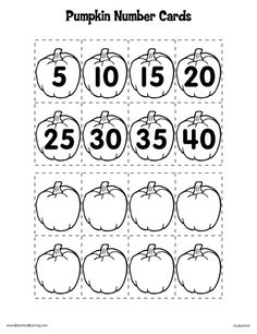 Here's a set of pumpkin numbers and a number line for skip counting by 5s.