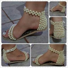 15 Ideas to Decorate your sandals creatively Beaded Shoes, Beaded Sandals, Beaded Purses, Pearl Sandals, Shoe Crafts, Clothes Crafts, Diy Fashion, Fashion Shoes, Shoe Makeover