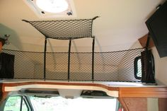 Cargo Net for Class C Cabover Class C Rv, Rv Organization, Cargo Net, Rv Hacks, Rv Life, Rv Camping, Valance Curtains, Camper, Open Roads