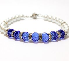 Fancy Deep Blue Crystals with White Pearls Dog and Cat Collar. Rondeles Separate Dark Blue Beads From White Glass Pearls. Great for Toy Dogs. Blue Beads, Blue Crystals, Toy Dogs, Beaded Dog Collar, Cat Collars, Wire Work, Pet Accessories, Deep Blue, Pearl White