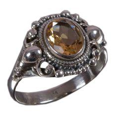 925 Solid Sterling Silver Ring Natural Golden Topaz US Size 8.75 JSR-1208 #JaipurSilver