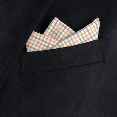 Cotton Pocket Square (For Men) in Natural/Sage/Blue/Rose Check