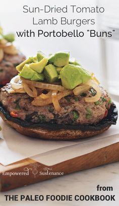 Easy Paleo hamburger buns made with portobellos! #Paleo #GlutenFree #GrainFree #HealthyEating #PaleoRecipes