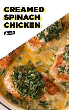 Creamed Spinach Chicken is your entire dinner in one pan. Get the recipe at Delish.com.