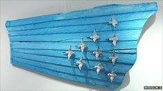 Ten Flying Sanderlings Boat Panels, carved and painted driftwood