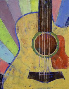 """""""Sunrise Guitar"""" by Michael Creese // Original oil on canvas painting by American artist Michael Creese. // Imagekind.com -- Buy stunning, museum-quality fine art prints, framed prints, and canvas prints directly from independent working artists and photographers."""