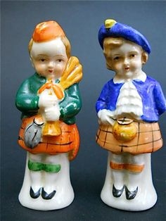 Vintage figural ceramic salt and pepper shakers, Scottish boy & girl with kilts & bagpipes
