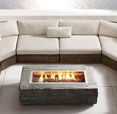 Woodgrain Natural Gas Fire Table from Restoration Hardware. Saved to Home Sweet Home. Paver Fire Pit, Diy Fire Pit, Back Patio, Backyard Patio, Outside Fireplace, Outdoor Gas Fireplace, Fire Pit Gallery, Rectangular Fire Pit, Fire Pit Furniture