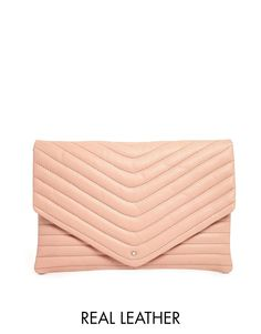 Selected Lala Leather Clutch in Rose