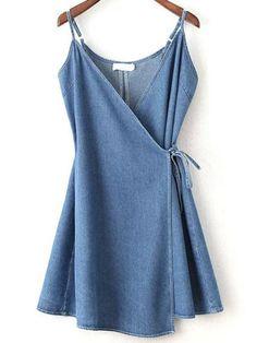 Blue Wrap Cami Dress With Tie Detail