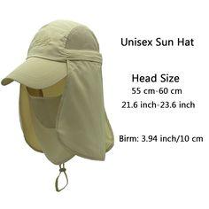 c244d75395d Quick-Drying Outdoor Cap UV Protection Sun Hats Fishing Hat Neck Face Flap  Hat UPF50+ - Khaki - CA17Z3YIK3L