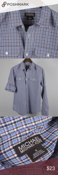 """S Michael Kors Blue Plaid Button Men's Shirt A3 Thank you for your interest in my item. You're going to love it — I guarantee it!   Top to Bottom: 28""""  Armpit to Armpit: 20"""" Shoulder to Sleeve Cuff: 25.5""""   Please remember to scroll through my other items and save on shipping when you purchase multiple items! MICHAEL Michael Kors Shirts Casual Button Down Shirts"""