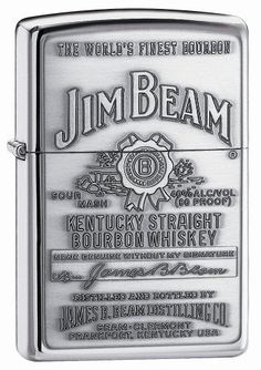 Zippo Jim Beam Pewter Emblem Pocket Lighter by Zippo. $13.99. A lustrous high polish chrome lighter with a dimensional antiqued pewter emblem. Genuine Zippo windproof lighter packaged in a tin with Jim Beam sleeve and the famous Zippo lifetime guarantee. Jim Beam is a registered trademark of Jim Beam Brands Co. and is used under authorized license to Zippo Manufacturing Company. All rights reserved worldwide. INTENDED FOR PURCHASE BY ADULTS OF LEGAL PURCHASE AGE FOR ALCOHO...