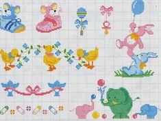 DOÇURAS DE PONTO CRUZ Baby Cross Stitch Patterns, Cross Stitch Alphabet, Cross Stitch Baby, Afghan Crochet Patterns, Cross Stitch Designs, Small Cross Stitch, Cross Stitch Cards, Cross Stitching, Embroidery Stitches