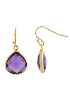 18k Gold Plated Amethyst Drop Earrings II Presenting alluring looks with an edge of glamour, Liv Oliver caters to today