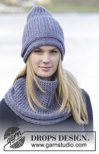 """Winter Shore - Ensemble: Bonnet et tour de cou DROPS au point mousse, en """"Eskimo"""", tricotés dans le sens de la longueur. - Free pattern by DROPS Design"""