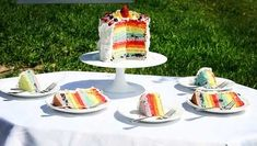 Fresh Fruit Rainbow Cake (little or no food coloring for the layers), I am Baker