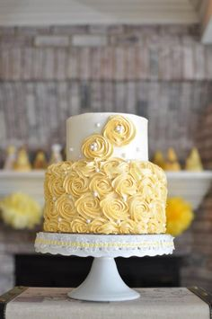 Yellow vintage style cake covered in buttercream rosettes. For more pics of our cakes, visit out website: www.simplysweetonline.com