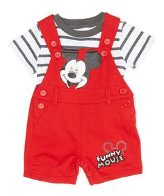 Look at this #zulilyfind! Mickey Mouse Red T-Shirt & Overalls - Infant by Children's Apparel Network #zulilyfinds