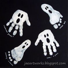 "Hand and footprint ghosts. Great for red ribbon door decorating contest. ""we pledge to step out out of drugs"""