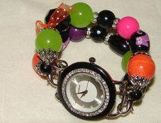 MultiColored Halloween Chunky Beaded Watch Band anf by BeadsnTime, $30.00
