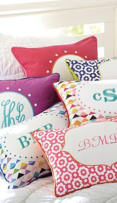 Love these monogram pillows for a girl's room!  http://rstyle.me/n/dj62snyg6
