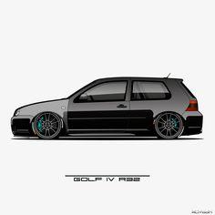 Golf 4 Wallpaper, Golf 4 R32, Vw R32 Mk4, Golf Iv, E46 Coupe, Car Wrap, Volkswagen Golf, Art Cars, Hot Wheels