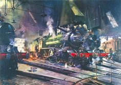 Premium Giclee Print: The Great Marquess Art Print by Terence Cuneo by Terence Cuneo : Old Steam Train, Marquess, Pennsylvania Railroad, Train Art, Railway Posters, Great Western, Steam Engine, Steam Locomotive, Find Art