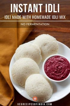instant idli recipe with step by step photos. instant recipe of preparing soft idlis using instant idli mix flour. no fermentation required. South Indian Breakfast Recipes, Vegetarian Breakfast Recipes, Indian Food Recipes, Snack Recipes, Cooking Recipes, Indian Foods, Sambhar Recipe, Idli Recipe, Instant Breakfast Recipe
